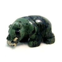 Kambaba Grizzly Bear with Fish Statue Carved Green Jasper Gemstone Ornament 4cm