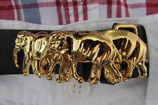 Women Narrow Belt Skinny Buckle Shiny Gold Metal Classic Fashion Thai Elephants
