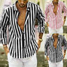 Luxury Men Stylish Casual Dress Slim Fit T-Shirt Long Sleeve Formal Striped Tops