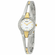 Seiko Women's Two Tone Stainless Steel Analog with White Dial Watch SUP206