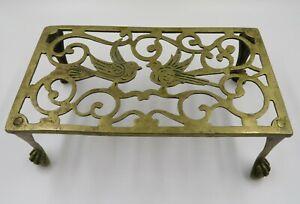 WONDERFUL ANTIQUE C 1865 BRASS KETTLE POT TRIVET WITH DOUBLE BIRD DESIGN