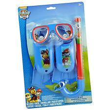 Nickelodeon Paw Patrol Kids Swim Accessories Set Flippers Snorkel - 3 Pieces