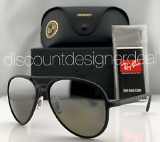 Ray-Ban RB4320CH Aviator Sunglasses 601S5J Matte Black Silver Mirror POLARIZED