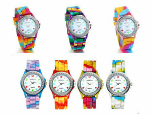 Women Quartz Watch Rhinestone Rainbow Silicone Jelly Fun Color Casual Dress Watc