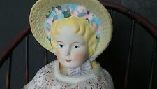 Charming Antique Bonnet Head with Flowers China Head Doll Reproduction Doll
