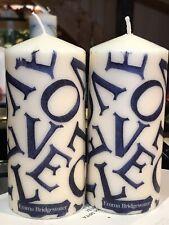 EMMA BRIDGEWATER LOVE PURPLE Hand Decorated Pillar Candles 15x7cm SET OF 2