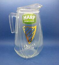 Vintage Harp Irish Lager 4 Pint Heavy Glass Pitcher Jug - Crown Mark Pub Quality