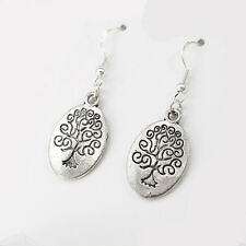12 Wholesale Lot Silver Alloy Tree Of Life Tribal Earrings 925 Sterling Hooks
