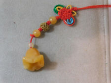 Cord Phone Charm Talisman 2f 17 Chinese Golden Jade Carved Bell Flower Knotted
