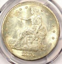 1874-S Trade Silver Dollar T$1 - PCGS Uncirculated Details Chop Mark (UNC MS)!