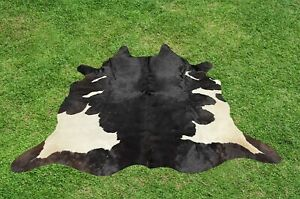 Cowhide Rugs Black Real Hair on Cow Hide Skin Area Rug Leather Decor 5.5 x 5 ft