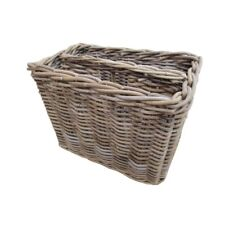 Grey Rattan Magazine Rack Wicker Storage Basket Newspaper Holder