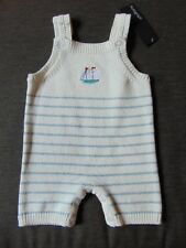 M&S Autograph 100%Cotton Knitted Striped Dungarees 0-1m 54cm Blue Mix BNWT