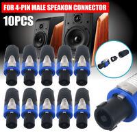10Pcs NL4FC Pro 4 Pole Male Speakon Connector Adapter Speaker Audio Cable Plug