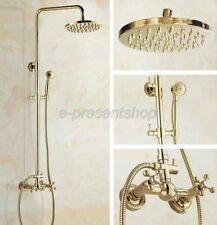 Gold Finish 8-inch Rainfall Shower Faucet Set Mixer Tap with Hand Shower Bgf322