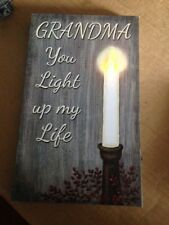 Canvas Picture GRANDMA U LIGHT UP MY LIFE Flickering Led Candlegrandmother Sign