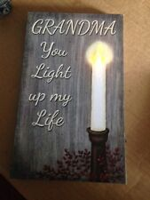 Canvas Picture GRANDMA LIGHT UP MY LIFE Flickering Led Candle grandmother Sign