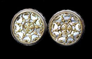 Konstantino Cufflinks Mother of Pearl Large Round Sterling 18K Gold Overlay New