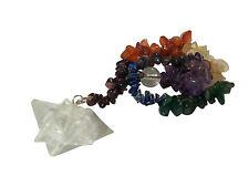 Bergkristall Merkaba Pendel mit 7 Chakra Chips Kette pendule pendolo