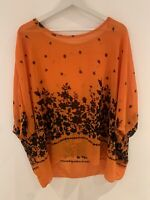 ORANGE BLACK FLORAL KAFTAN TOP NEW 14/16 HOLIDAY BEACH SUMMER SLIP SUN MARBS HOT
