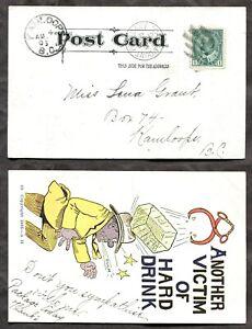 p1487 - MOUNT PLEASANT BC 1906 CDS on Drinking Humor Postcard to Kamloops ✉