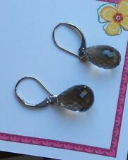 14 k White gold lever backs New listing Beautiful smoky topaz briolette Earrings with