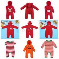 Holloween Infant Baby Boy Girl Jumpsuit One Piece Christmas Hooded Outfit Romper