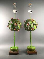 Hollywood Regency Italian Painted Tole Mid Century Floral Lamp Pair