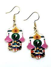 Earrings Hamsa Hand of Fatima Evil Eye Protection Gold Tone Colourful Jewellery