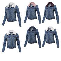 FashionOutfit Women's Casual Faux Fur Collar Stretchable Retro Denim Jacket