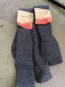 Kilt Hose Socks Chunky Knit Thick Comfortable Grey 2 Pairs Size 12.5-3.5