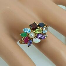 9ct Gold Emerald Ruby Aqua Garnet Peridot Amethyst Diamond Topaz Sapphire Ring