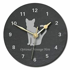 Cat Design Slate Clock - Personalised with text of your choice(Large (300mm)