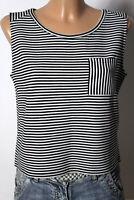 TAIFUN Top Gr. 34 kurz schwarz-weiß gestreift ärmellos Rippstrick Damen Top