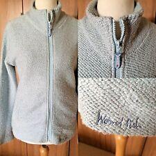 "WEIRD FISH Light Blue MACARONI Full Zip Sweatshirt Top Sz L 38"" POCKETS Casual"