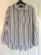 Primark Stripe Shirt Size 16 Holiday Blouse White Navy Women's Atmosphere Summer