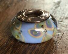 NEW Authentic CHAMILIA Murano Blue Green Tan Flower Glass Bead