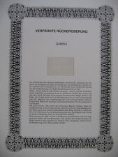 """Irrtümer auf Briefmarken / Gambia : """" Verfrühte Rückeroberung """""""
