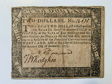 1775 $2 Continental Currency Maryland Note - Extremely Fine
