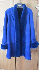 OSCAR DE LA RENTA Suede Leather Shearling Wool BLUE Women Coat Sheepskin SZ 6