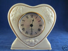 Vintage Lenox Ivory Fine China Heart Shape Desk Clock Mint Condition