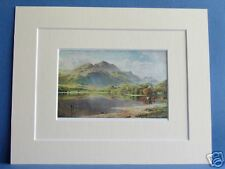 LOCH ACHRAY TROSSACHS SCOTLAND 1912 VINTAGE DOUBLE MOUNTED PRINT 10X8 OVERALL