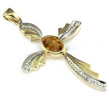 Citrine & Diamond 9ct 375 Solid Gold Stunning Cross Pendant - 30 Day Returns
