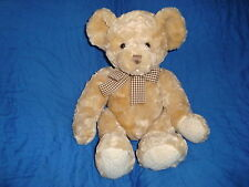 Animal Alley Light Brown Teddy Bear Plaid bow Plush and Beans Toys R Us Toy 16""