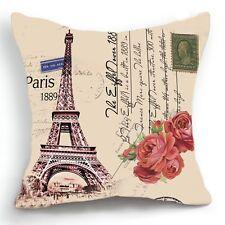 Retro Style Paris Effiel Tower Rose Home Pillow Case Cushion Cover 18''