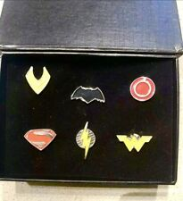 DC Justice League 6 Pin Set In Black Box DC and WBEI