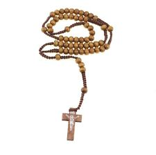 Wooden Rosary Bead Necklace The Nun Cross Crucifix Light Brown Genuine Quality