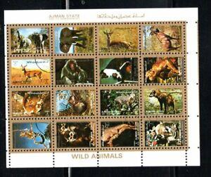 "1972 Ajman  Wild Animals minisheet CTO  3/4""x4"""