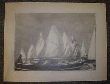 Régate voiliers et pinasse, Arcachon, dessin de Christian Frain.