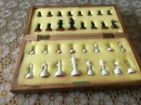 CHESS PIECES & FOLDING BOARD SET Box . Used in Good Condition
